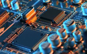 close up of electronic board with microchips and semiconductors